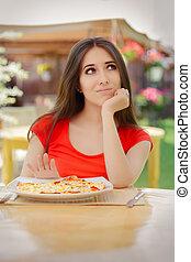 Young Woman Refusing To Eat a Pizza - Beautiful girl saying ...