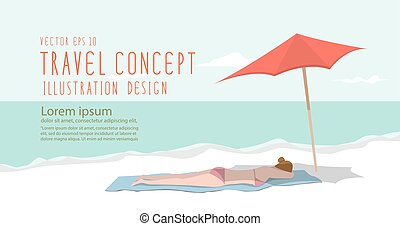 Young woman relax on the beach heading banner flat vector.
