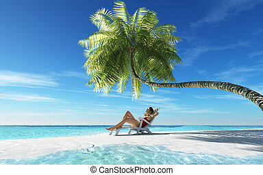 Young woman relaxing in a sunbed at the beach. This is a 3d...