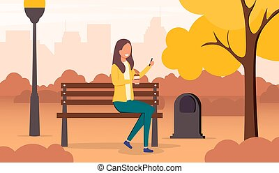 Young woman relaxing in a park in autumn sitting on a bench under colorful yellow trees with cityscape behind, colored vector illustration