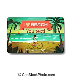 Young woman rides red bike on summer beach at sunset. Sale discount gift card. Branding design to the resort and a sports goods store