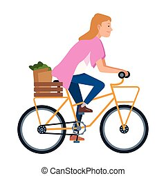 Young woman riding on bike cartoon
