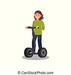 Young woman riding segway, healthy and active lifestyle, eco friendly alternative transportation vehicle vector Illustration on a white background