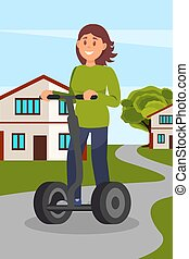 Young woman riding segway on city street, healthy and active lifestyle, eco friendly alternative transportation vehicle vector Illustration