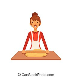 Young woman rolling dough, housewife girl cooking food in the kitchen flat vector Illustration