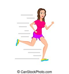 young woman runner running or jogging girl vector isolated ...