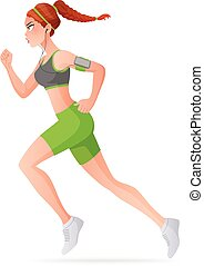 Young woman running. Cartoon vector illustration isolated on white background.