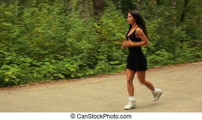 Young woman running.