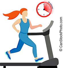 Young woman running on a treadmill isolated on white background. 20 minutes run. Vector illustration.
