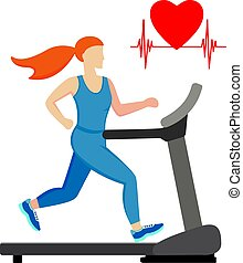 Young woman running on a treadmill isolated on white background. Cardio training. Vector illustration.