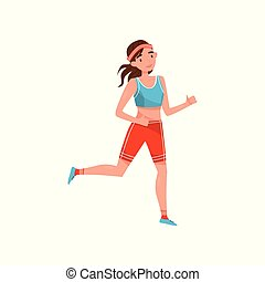 Young woman running, professional sportswoman character in sportswear, active sport lifestyle concept vector Illustration on a white background