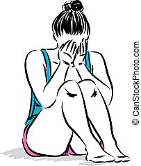 young woman sad crying vector illustration
