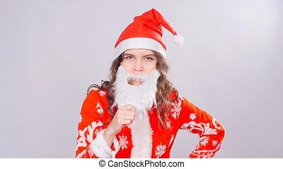 Young woman Santa Claus