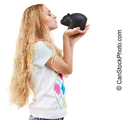 Young woman saving money in a piggybank