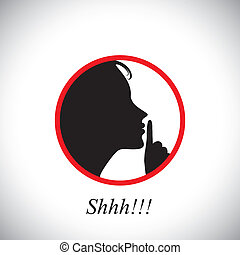 young woman saying shh & gesturing using her forefinger - concept vector. This graphic contains a young girl raising her hand indicating to stop talking, making noise & to be silent