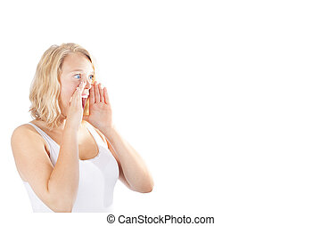 Young woman screaming with copy spa