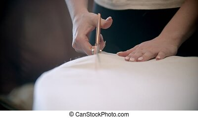 Young woman seamstress cutting the cloth. Mid shot