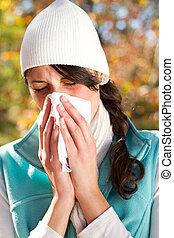young woman season change allergy