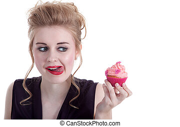 Young woman serving cupcakes