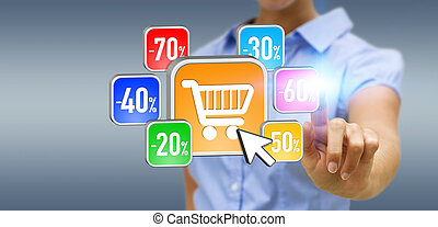 Young woman shopping during sales period - Businesswoman...
