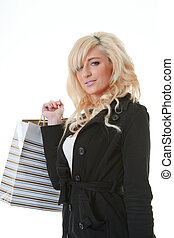 young woman shopping on white