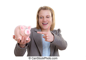Young woman showing a piggy bank with her ??finger