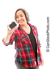 Young woman showing a smart phone