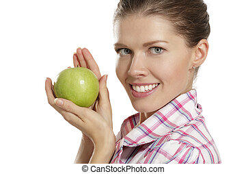 young woman showing apples