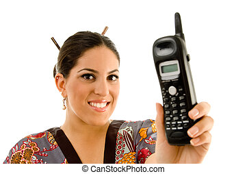 young woman showing cordless phone with white background