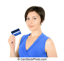 Young woman showing credit card