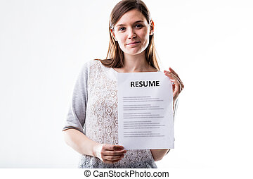 young woman showing her curriculum vitae