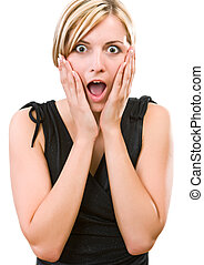 Young woman showing her surprise