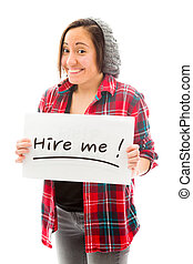 Young woman showing hire me sign