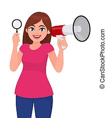 Young woman showing magnifying glass. Girl holding megaphone or loudspeaker in hand. Female character design illustration. Modern lifestyle, communication, news concept in vector cartoon style.