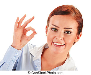 Young woman showing ok gesture isolated on white