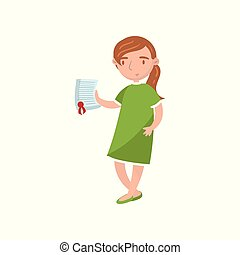 Young woman showing paper document, car insurance cartoon vector Illustration