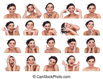 Young woman showing several expressions, isolated on white ...