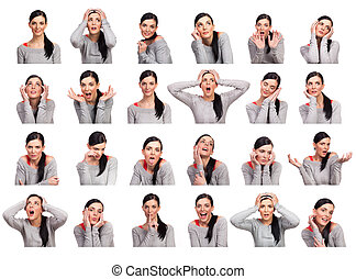 Young woman showing several expressions, isolated - Young...