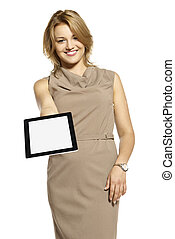 Young woman showing something on tablet