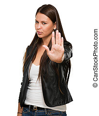Young Woman Showing Stop Hand Gesture On White Background