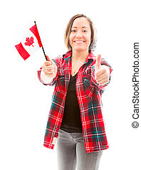 Young woman showing thumbs up sign with holding Canada flag