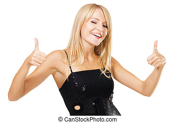 """Young woman showing """"Thumbs up"""" sign"""