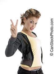 young woman showing winning gesture