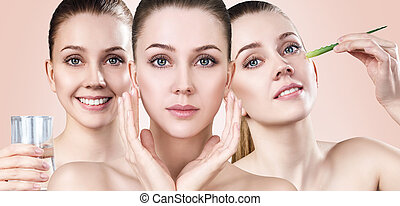 Young woman shows process of skin cleansing.