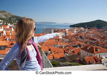 Young woman sightseeing, Dubrovnik, Croatia