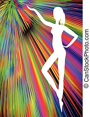 Young woman silhouette in ballet pose on rainbow ray abstract background