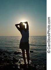 Young woman silhouette