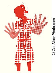 Young woman silhouette victim of violence
