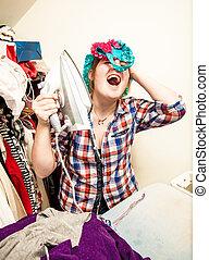 woman singing and having fun during ironing