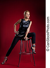 young woman sit bar chair rock leather jacket